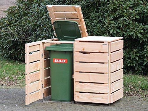 2er Mülltonnenbox / Mülltonnenverkleidung 120 L Holz, Douglasie Natur