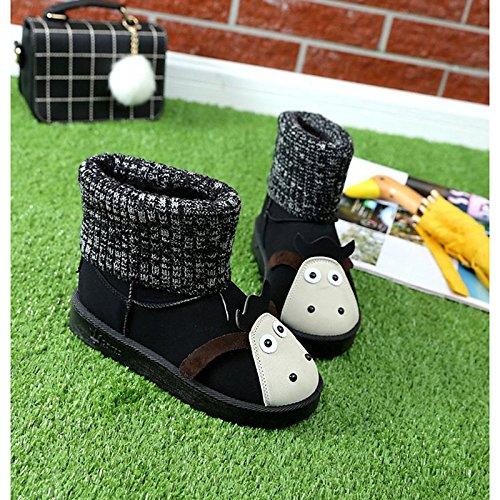 HSXZ Scarpe donna pu Autunno Inverno Comfort Snow Boots stivali tacco piatto rotondo Mid-Calf Toe stivali per Casual Nero Grigio Gray
