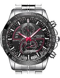Elegante reloj de pulsera para hombre de Ilove EU, reloj deportivo analógico de cuarzo resistente al agua hasta 30 metros, luz LED, acero inoxidable plateado WHLB017