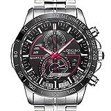 iLove EU Herren-Armbanduhr Sportuhr Analog Quarz 3ATM wasserdicht LED Licht Edelstahl Silber mit Schwarz Zifferblatt und Rot Gauge-Nadeln