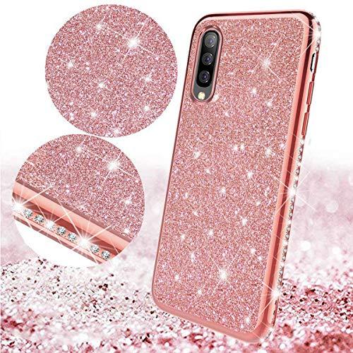 Surakey Cover Compatible con Samsung Galaxy S5 Mini Glitter Bling Protettiva Custodia in Silicone Colore Placcato Brillante Antiurto TPU Bumper Ultra Sottile Cover,Rosa