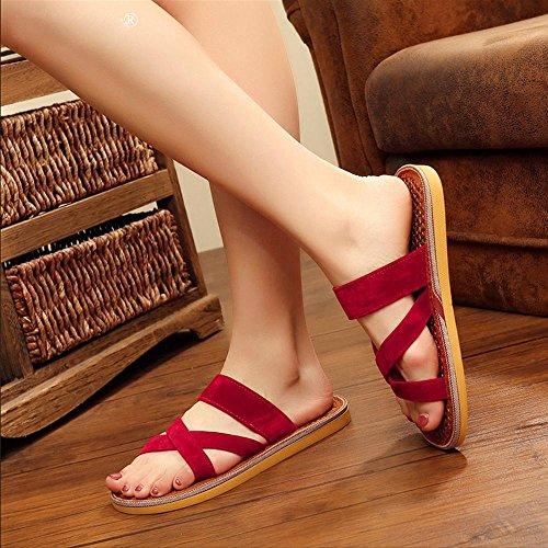 GJDE Femmes Summer Beach Sandales Femmes et Pantoufles Red
