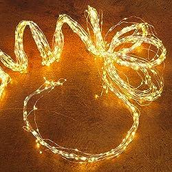 Kölle LED Regen - mit 700 warmweiß leuchtenden Lichtern - für innen und außen - Lichterkette mit Silberdraht und Netzteil - Länge 2 m und Zuleitung 5 m