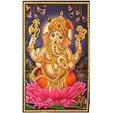 XL Poster Ganesha 145 x 95 cm Lotus violett pink Gottheit Hinduismus Kunstdruck Religion Spiritualität Dekoration Indien