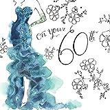twizler Glückwunschkarte für 60. Geburtstag Her mit Swarovski Crystal Finish, silber folieren, Einzigartige Wasserfarben Effekt und Cocktail Kleid–60Jahre–Alter 60Geburtstag Karte