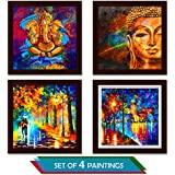 Story@Home Exclusive Printed 4 Pc Combo Wall Art Painting With Ganesha, Buddha, Wall Art And Perfect Love Couple Pictures.