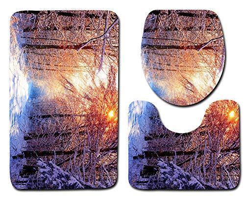 Tayohye 3 Stück Badematte 3-teiliges WC-Abdeckungsset Polyester Szenerie Wasseraufnahme rutschfest Badezimmermatte, 001, 45 * 75