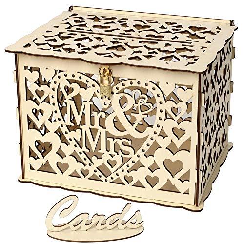 LISRUI Wooden Wedding Box Hochzeitskartenbox Elegant mit Schloss für Party-Geburtstagsgeschenke