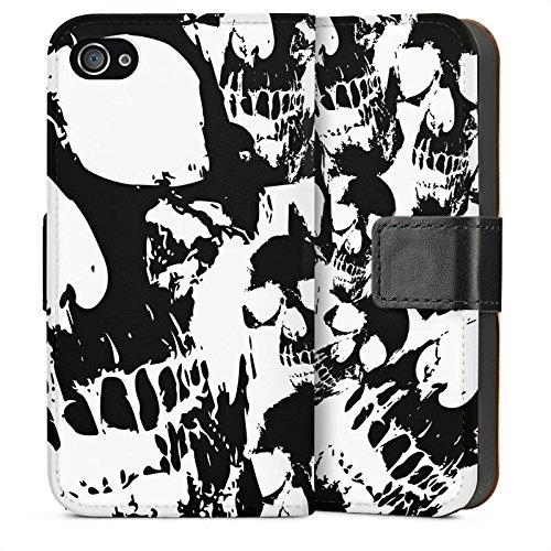 Apple iPhone SE Housse Outdoor Étui militaire Coque Crâne Noir et blanc Gothique Sideflip Sac