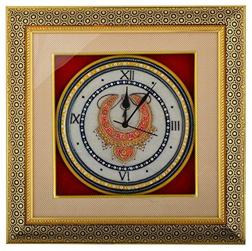 Saudeep India Trading Corporation Marble Wall Clock (SIWCNCBR4, 38 cm x 38...