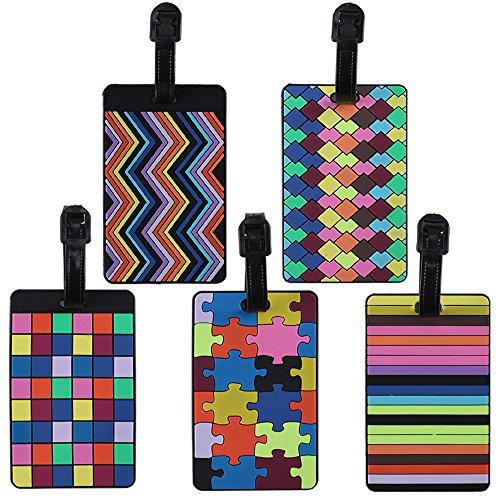 FOGAWA Gepäckanhänger, 5Pcs Kofferanhänger PVC Koffer ID Etiketten Bunte schwarz Gepäck Anhänger mit Adressschild und Namensschild für Kreuzfahrt Flugzeug Koffer Rucksäcke Kinder