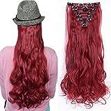 Clip in Extensions wie Echthaar Rot Haarteile 8 Tresssen günstig komplette Haarverlängerung Gewellt 24