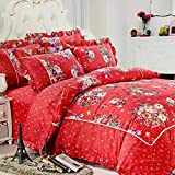 Refinish Home Vintage Blossom Collection Red,Cream Colour Glace Cotton Floral 108x108 In. (274x274cm)(9ft By 9ft) Super King Size Elegant Double Bed Sheet With 2 Pillow Covers Under 2000