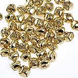 100 Stück Kreuzschellen Glöckchen 15 mm aus Eisen mit Öse - Kleenes Traumhandel® (Gold)