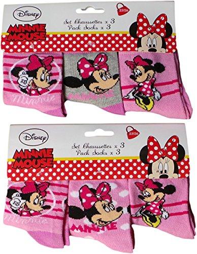 Disney Minnie Maus Socken 6er Pack - Punktetraum mit Minnie - Pink/Rosa/Mehrfarbig