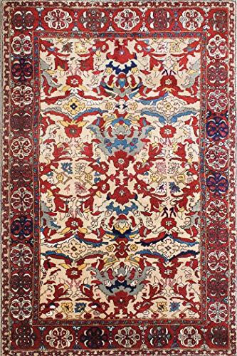 Arts of India Handgefertigt indisch Beige Wolle Teppich Traditionell/Orientalischisch Teppich 5'5