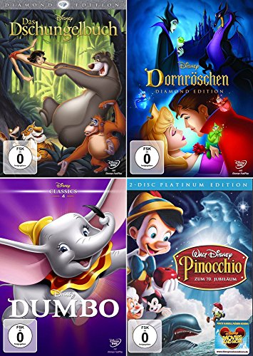 Walt Disney Collection 3 | Das Dschungelbuch - Diamond Edition + Dornröschen - Diamond Edition + Dumbo - Special Edition + Pinocchio - Platinum Edition (5-Disc)