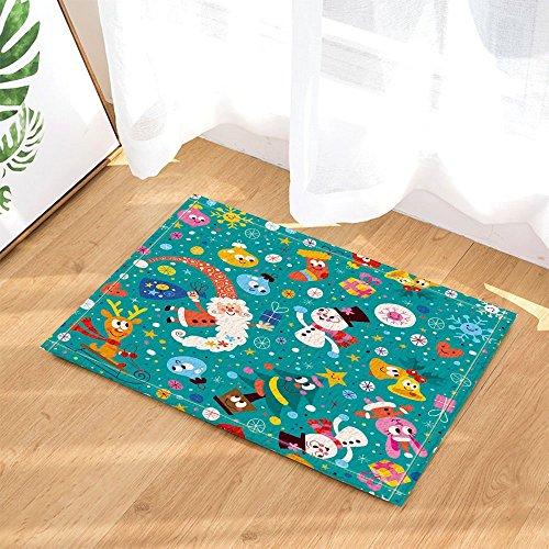 cdhbh Merry Christmas Kinder Decor Cartoon Schneemann und Santa Claus Geschenk in türkis für Happy New Year Bad Teppiche rutschhemmend Fußmatte Boden Eingänge Innen vorne Fußmatte Kinder -