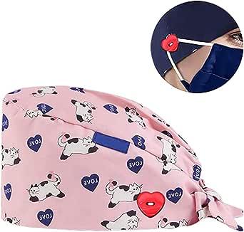 KIACIYA Berretto Chirurgico Donna 3PCS Cappuccio Chirurgico con Fascia Regolabile per Fodera Cappello Medico Cuffietta Chirurgica Cuffia Infermiera Bandana Chirurgiche Stampa Infermiere Gatto