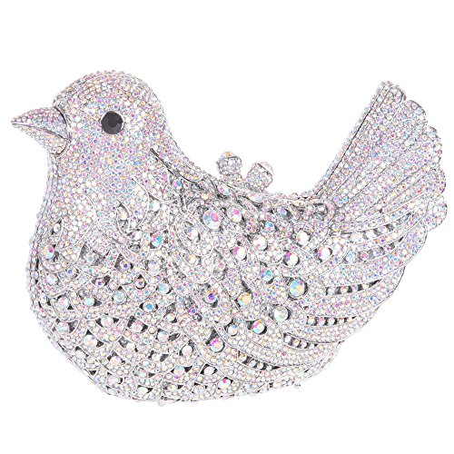 Bonjanvye Glitter Rhinestone Bird Clutch Purses Evening Clutch Bag for Girls Rose Gold AB Silver