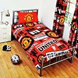 Manchester United FC Football Housse de couette et taie d'oreiller Patch Jeux (Choisir votre taille.), 30% coton/70% polyester/coton/polyester, Rouge, Simple