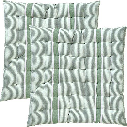 REDBEST Stuhlkissen, Sitzkissen, Sitzauflage 2er-Pack grün Größe 40x40x3 cm - strapazierstark, langlebig, angenehmer Sitzkomfort (weitere Farben) -
