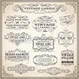 "Poster 40 x 40 cm: ""Vintage Calligraphic Labels Set"", Poster"