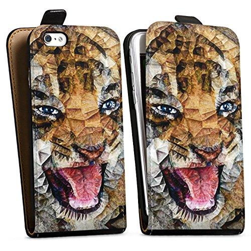 Apple iPhone X Silikon Hülle Case Schutzhülle Angry Cat Tiger Katze Downflip Tasche schwarz