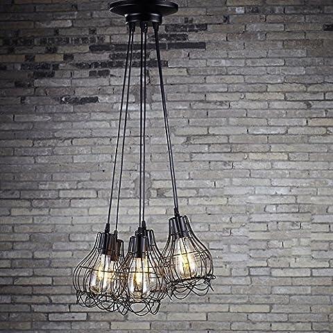 BJVB Creatividad 6 cabeza bombilla Edison luz alambre jaula lámpara colgante alrededor de la base de incrustado pequeñas aves jaula lámpara jaula jaula lámpara