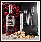 Geschenk Auchentoshan Three Wood Whisky + Flaschenportionierer + 10 Edel Schokoladen von DreiMeister & DaJa + 4 Whisky Fudge, kostenloser Versand