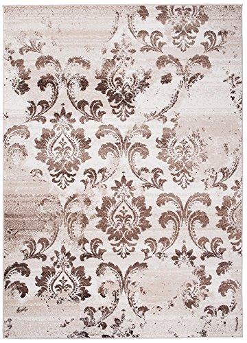Tapiso tappeto sari camera soggiorno salotto moderno   colore beige crema   disegno ornamento foglie fiori   facile da pulire   ottima qualità 60 x 100 cm