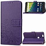 Google Nexus 6P Case,BONROY® Google Nexus 6P Lucky Clover Embossed Leather PU Phone Holster Case, Flip Folio Book Case, Wallet Cover with Stand Function, Card Slots Money Pouch Protective Leather Wallet Case for Google Nexus 6P