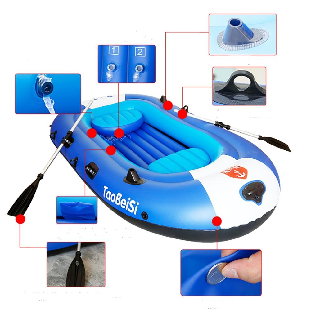 NUOAO 4-Person Inflatable Boat Set with Aluminum Oars and High Output Air Pump 267×140×42CM