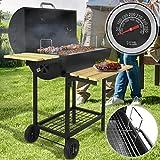 Barbecue à Charbon de Bois | Portable, avec Thermomètre de Température, Noir | BBQ de Jardin, Fumoir Grill, Smoker