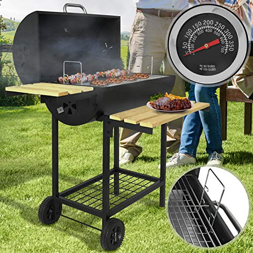 broil-master BBQ Holzkohlegrill | mit Rollen und Temperaturanzeige, aus Stahl, Schwarz | Smoker, Holzkohle Grillwagen, Grillstation, Barbecue Grill