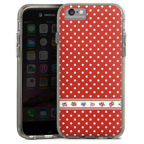Apple iPhone X Bumper Hülle Bumper Case Glitzer Hülle Dots Tapete Flowers Bumper Case transparent grau