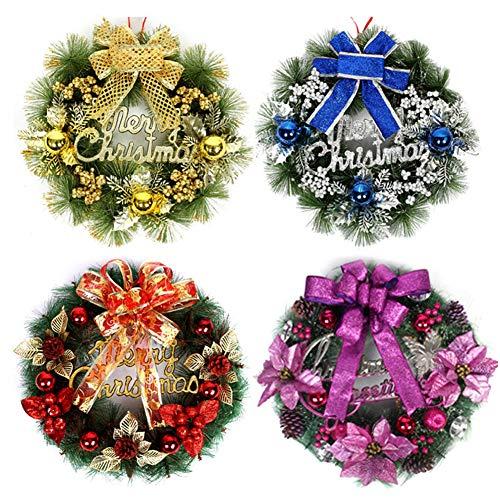 NimbleMinLki Weihnachts-Hängeornament, Weihnachtsgirlande, Kranz, Türbaum, Glocke, Schleife, hängendes Ornament, 40 cm, Violett, rot, 50 cm