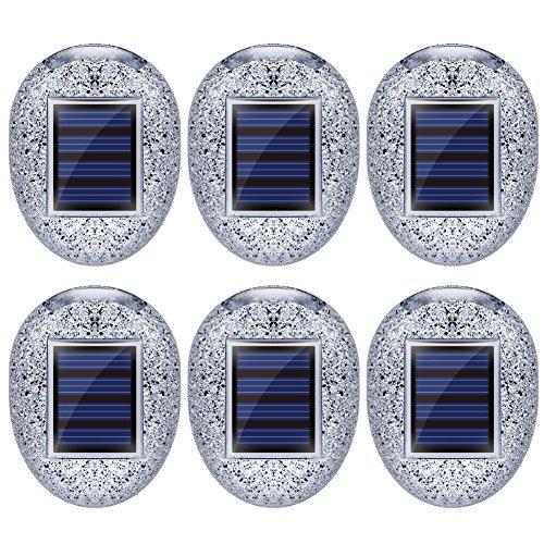 6 x Solar-LED-Lampen, Steinform, für dekorative Landschaft, wasserfest, solarbetrieben, Gartenleuchten für den Außenbereich, Terrasse, Hof, Gehweg, weiß