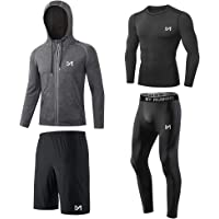MEETYOO Men's Compression Shirt, Sport Leggings Fitness Shorts Gym Tight Running Pants Base Layer Top for Workout…