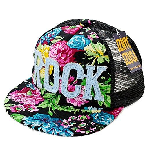Belsen Mädchen Rock Blume Baseball Kappen Mesh Cap Truckers Hat (schwarz) - Rock-baseball-kappen