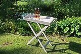 Dreams4Home Stehtablett 'Manaus', Beistelltisch, Gartentisch, Tisch, Terrassentisch, Glastisch, Rundtisch, (B/L/H) ca.60 x 40 x 72 cm, Garten, in grau