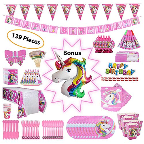 145 Pcs Unicorn Party Supplies Set Decorations Birthday Gifts For