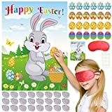 FEPITO Gioco di Pasqua per Bambini, Pin la Coda sul Coniglietto, Pin l'uovo sul Coniglietto con 24 Code, 24 Adesivi per Uova di Pasqua per Decorazioni per Feste pasquali, attività di Caccia alle Uova