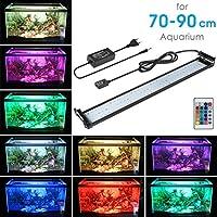 MAINLICHT 70-90cm Aquarium Lampe 108 LED RBG + Blanc 18W Luminaires D'éclairage 4 mode Fish Tank Light Réservoir de poissons