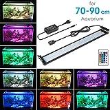 BELLALICHT Aquarium LED Beleuchtung, Aquariumbeleuchtung Lampe aus Aluminium 16 Farben Bunt mit Fernbedienung 18W Weiß Blau Licht mit Verstellbarer Halterung für 70cm-90cm Aquarium