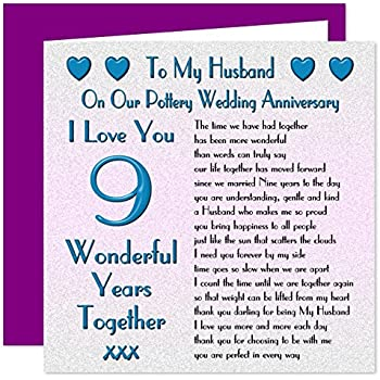 My Husband 9th Wedding Anniversary Card On Our Pottery