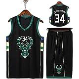 XZM Camiseta de Baloncesto Giannis Antetokounmpo No. 34 de Milwaukee Bucks, versión Personalizada de Camiseta para niños, Bor