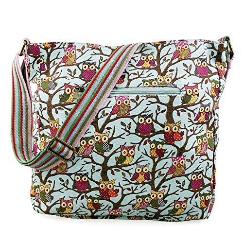 Miss Lulu Borsa messenger borsa da donna borsetta da donna bolse a tracolla borsa da scuola per ragazza Owl Blue