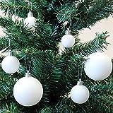 Wohaga® 2X 31-teiliges Weihnachtsbaumkugeln-Set Christbaumkugeln Baumkugeln Tannenbaumschmuck Weihnachtsdekoration Tannenbaumkugeln Kunststoff Weiss Ø6/5/4/3cm