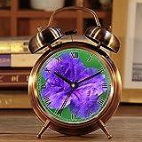 Wecker, Retro Portable Twin Bell neben Wecker mit Nachtlicht 345.Flower, lila, lila Blume, Natur, Blüte, Blumen